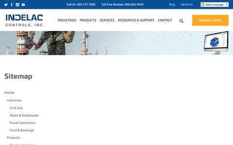 Screenshot of Site Map Page indelac.com - Sitemap | Indelac Controls, Inc. - captured Nov. 14, 2018