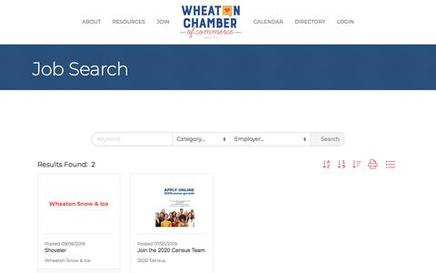 Screenshot of Jobs Page wheatonchamber.com - Job Search - captured Oct. 12, 2019