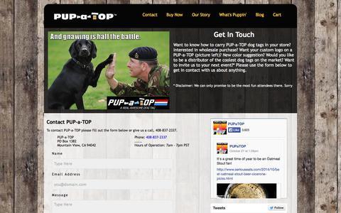 Screenshot of Contact Page pupatop.com - Contact PUP-a-TOP - captured Nov. 1, 2014