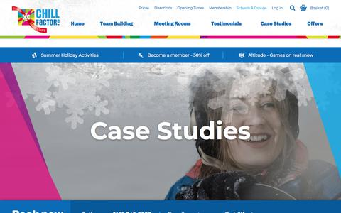 Screenshot of Case Studies Page chillfactore.com - Team Building Case Studies | Chill Factore - captured July 17, 2018