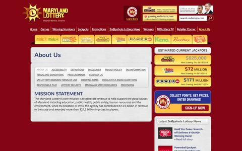 Screenshot of About Page mdlottery.com - Maryland Lottery    –  About Us - captured Sept. 18, 2014