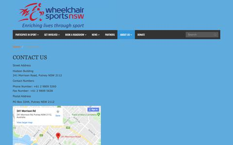 Screenshot of Contact Page wsnsw.org.au - Wheelchair Sports NSW|  Contact Us - captured March 4, 2019