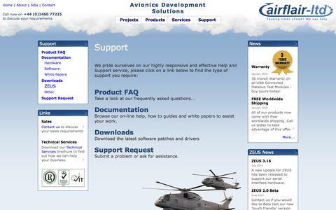 Screenshot of Support Page airflair.co.uk - Airflair Ltd - Support - captured Oct. 4, 2014