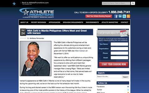 Screenshot of Blog athletepromotions.com - Latest News on Athlete Appearances, Speaking Engagements and Athlete Endorsement Deals - captured Oct. 26, 2014