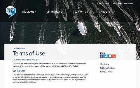 Screenshot of Terms Page sailorsforthesea.org - Terms of Use   Sailors for the Sea - captured April 8, 2018