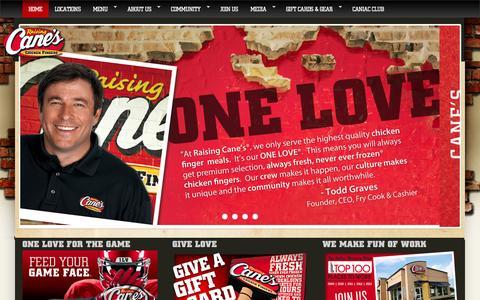 Screenshot of Home Page raisingcanes.com - Raising Cane's | Chicken Fingers | Cane's Sauce - captured Sept. 24, 2014
