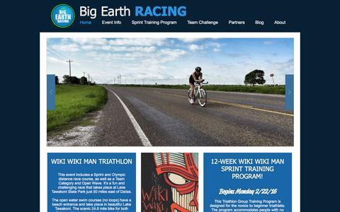 Screenshot of Home Page bigearthracing.com - Big Earth Racing - captured Feb. 7, 2016