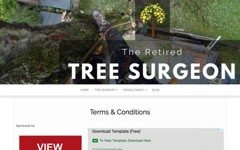 Screenshot of Terms Page rawtreecare.co.uk - Terms & Conditions - The Retired Tree Surgeon - captured Sept. 21, 2018