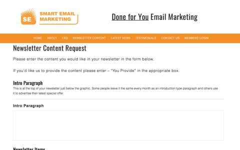 Newsletter Content Request - Smart Email