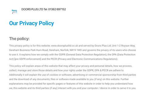 Screenshot of Privacy Page doorsplusltd.co.uk - Privacy Policy – DOORS PLUS LTD Tel: 01362 697152 - captured July 15, 2019