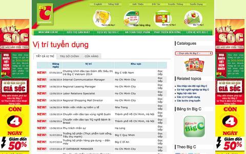 Screenshot of Jobs Page bigc.vn - Các vị trí tuyển dụng - captured Sept. 19, 2014