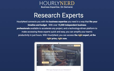 Screenshot of Landing Page hourlynerd.com - HourlyNerd. Business Expertise. On Demand. - captured Dec. 17, 2015