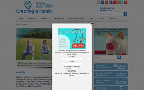 Screenshot of About Page creatingafamily.org - About Us - Creating a Family   Creating a Family - captured July 17, 2016