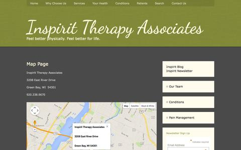 Screenshot of Maps & Directions Page inspiritpt.com - Map Page - Inspirit Therapy Associates Physical Therapy for Green Bay, WI - captured Oct. 6, 2014