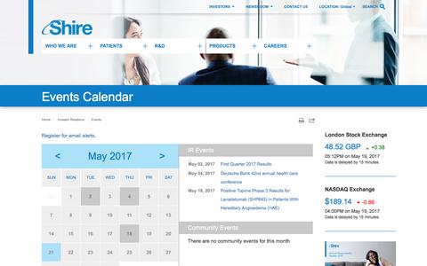 Screenshot of shire.com - Shire: Events Calendar - captured May 21, 2017