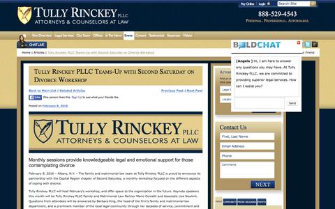 Screenshot of tullylegal.com - Tully Rinckey PLLC Teams-Up with Second Saturday on Divorce Workshop | Tully Rinckey PLLC - captured March 20, 2016