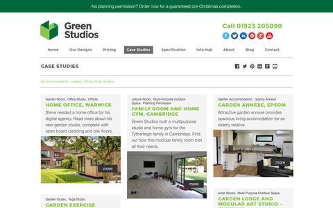 Screenshot of Case Studies Page green-studios.com - Garden Room Case Studies | Green Studios - captured Oct. 16, 2017