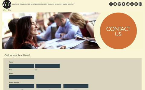 Screenshot of Contact Page 616lofts.com - Contact 616 Lofts | 616.504.1715 | Grand Rapids, MI - captured Oct. 27, 2014