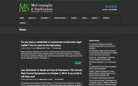 Screenshot of Press Page mslawpc.com - News | McConaughy & Sarkissian, P.C - captured Oct. 4, 2014