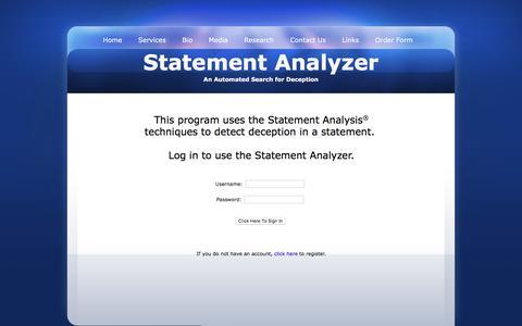 Screenshot of Login Page statementanalysis.com - Statement Analyzer - Automated Search for Deception - captured Nov. 20, 2016