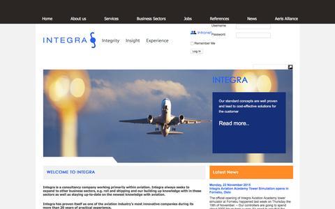 Screenshot of Home Page integra.dk - Integra | - captured Feb. 2, 2016