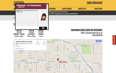 Screenshot of Maps & Directions Page chapmanspeedway.com - Directions | Hours of Operation | Chapman Used Cars on Speedway - captured April 21, 2016