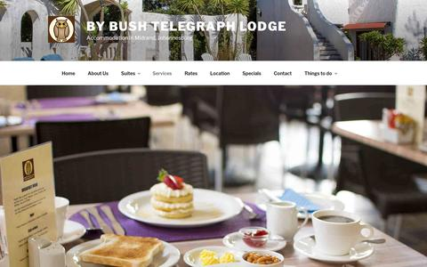 Screenshot of Services Page bbtlodge.com - Services and facilities at Midrand guest house | By Bush Telegraph Lodge - captured Oct. 7, 2018