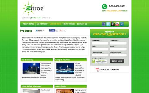 Screenshot of Products Page zitroz.com - Zitroz Upgrades Facilities with High Quality LED Lighting Products | Zitroz - captured Oct. 7, 2014