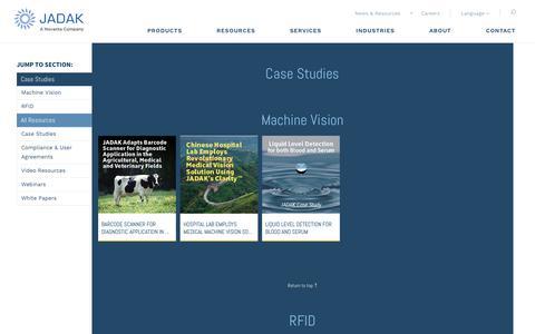 Screenshot of Case Studies Page jadaktech.com - Data Collection at the Point of Care - JADAK Whitepaper - captured Sept. 29, 2017