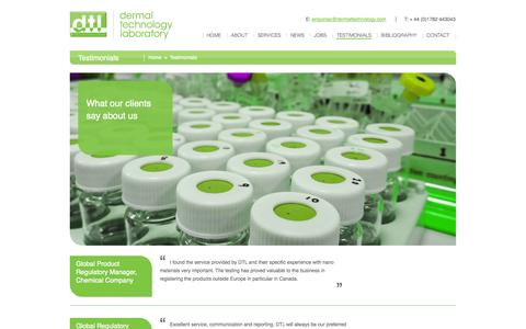 Screenshot of Testimonials Page dermaltechnology.com - Testimonials - Dermal Technology Laboratory - captured Nov. 3, 2014