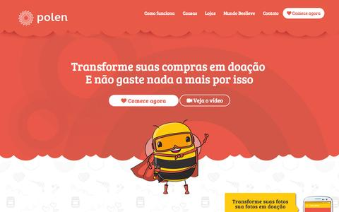 Screenshot of Home Page opolen.com.br - O Polen: Sua compra vira doação para ongs sem gastar nada - captured Sept. 13, 2015