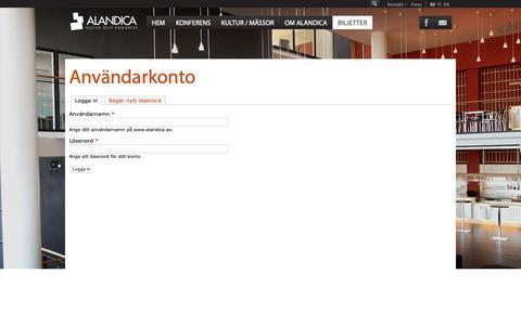Screenshot of Login Page alandica.ax - Användarkonto | www.alandica.ax - captured Oct. 3, 2018