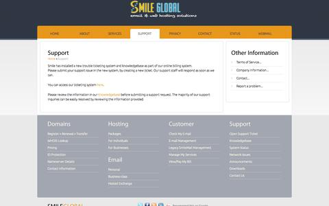 Screenshot of Support Page smileglobal.com - support::Smile Global - captured Sept. 30, 2014