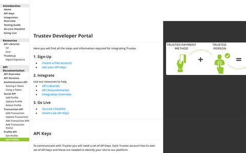 Screenshot of Developers Page trustev.com - Trustev Developer Portal - captured Sept. 12, 2014