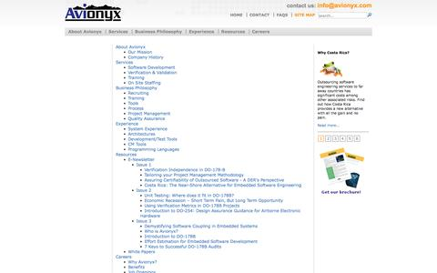 Screenshot of Site Map Page avionyx.com - Avionyx. Embedded Systems Offshore Services Provider In Costa Rica - Avionyx.com site map - captured Sept. 30, 2014