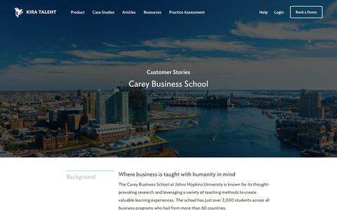Screenshot of Case Studies Page kiratalent.com - Carey Business School - Customer Story | Kira Talent - captured Sept. 11, 2017