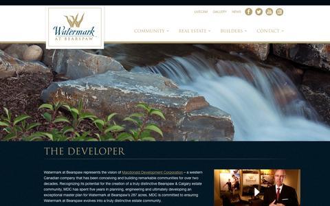 Screenshot of Developers Page watermarkatbearspaw.com - Macdonald Development Corporation | Watermark at Bearspaw - captured Oct. 27, 2014