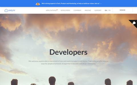 Screenshot of Developers Page cozy.io - Cozy Cloud - Community - captured July 22, 2018