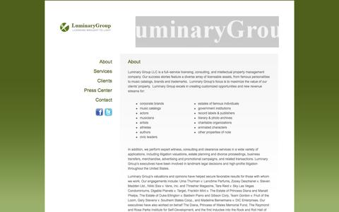 Screenshot of About Page luminarygroup.com - About - Luminary Group - captured Oct. 3, 2014