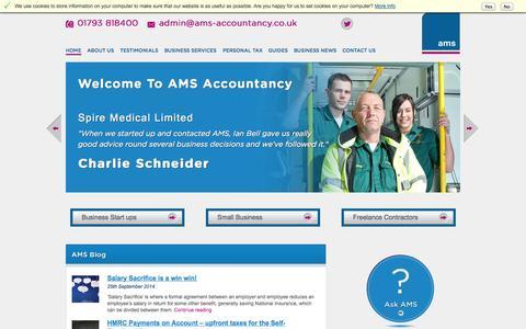 Screenshot of Home Page ams-accountancy.co.uk - AMS Accountancy | Accountants | Swindon - captured Oct. 4, 2014