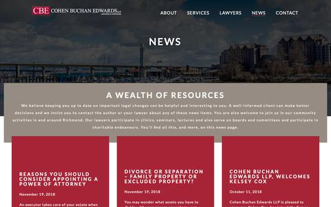 Screenshot of Press Page cbelaw.com - News - Cohen Buchan Edwards LLP - captured Dec. 15, 2018