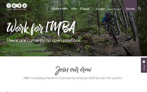 Screenshot of Jobs Page imba.com - Careers | IMBA - captured Nov. 8, 2018