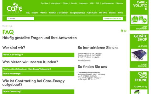 "Screenshot of FAQ Page care-mobility.com - Care-Energy ""Der Energiedienstleister der Energiewende"" - FAQ - captured Oct. 26, 2014"