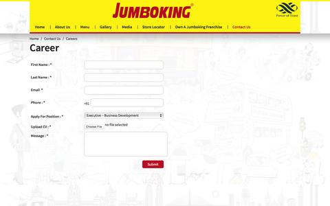 Screenshot of Jobs Page jumboking.co.in - Careers | Jumboking Vadapav - captured Jan. 17, 2016