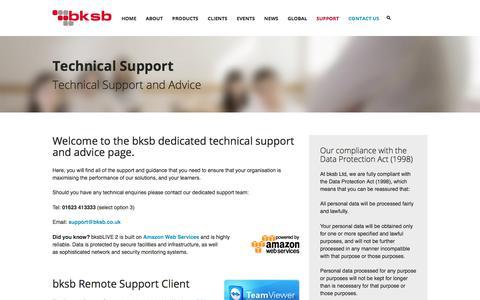 Screenshot of Support Page bksb.co.uk - Technical Support | Dedicated Technical Support & Advice - captured July 6, 2017