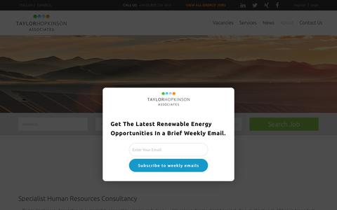 Screenshot of About Page taylorhopkinson.com - About Taylor Hopkinson - Renewable Energy Recruitment Agency - captured Oct. 20, 2017