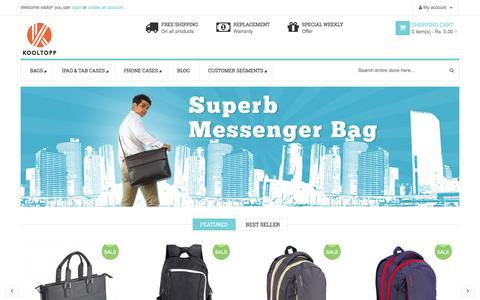 Screenshot of Home Page kooltopp.com - Laptop Backpack manufacturer Mumbai, Buy Laptop bags online - captured Jan. 15, 2016