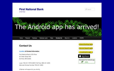 Screenshot of Contact Page fnber.com - Contact Us | First National Bank - captured Oct. 6, 2014