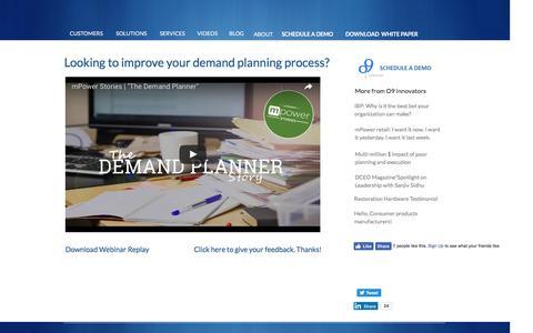 Screenshot of Landing Page o9solutions.com - Demand Planning process - captured Nov. 4, 2016