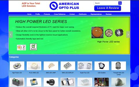 Screenshot of Home Page aopled.com - American Opto Plus, LED components manufacturer for SMD LED, PLCC LED, HIGH POWER, UV, LAMP, DISPLAY - captured Oct. 1, 2014